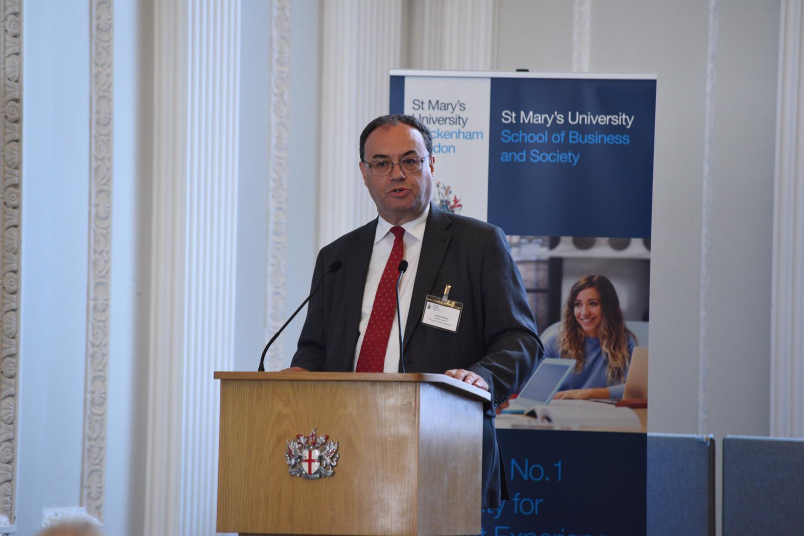 Andrew Bailey, CEO of the Financial Conduct Authority, at the launch of the St Mary's University School of Business and Society.