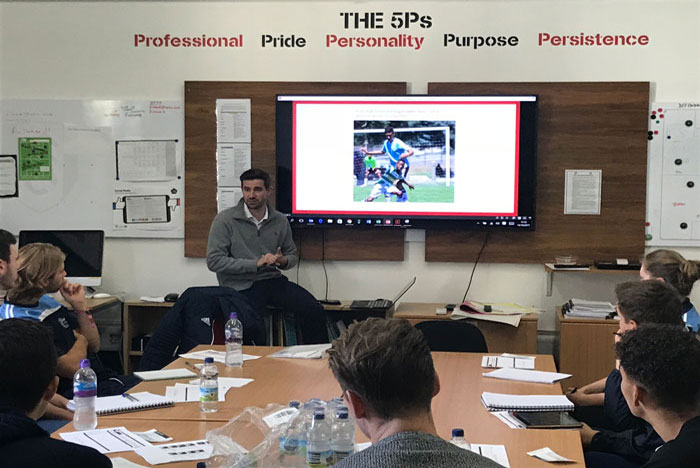 Fulham FC Academy Recruitment Manager Dan Rice speaks to St Mary's students during placement